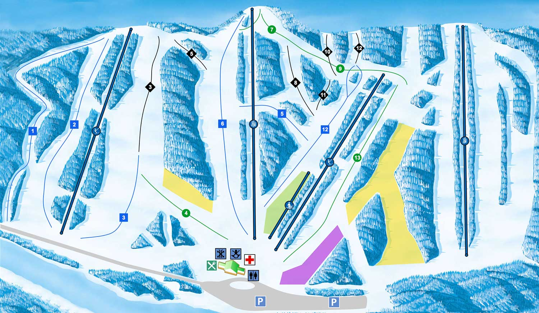 Skiing In California Map.Resort Map Canyon Ski Resort