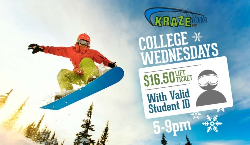 Kraze College Wednesday - $16.50 Lift tickets for students